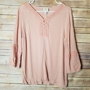 ST JOHN'S BAY boho hippie flowy pink top large